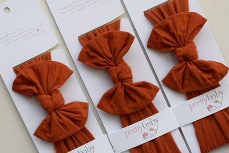 Top Knot Bow Headband - Burnt Orange