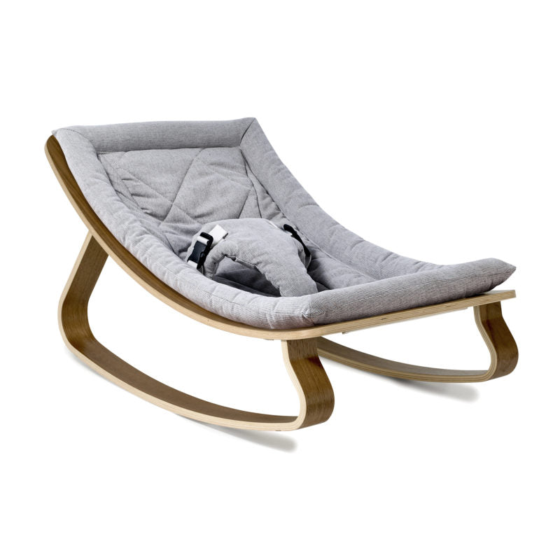 Charlie Crane Levo Baby Rocker in Walnut & Sweet Grey Cushion