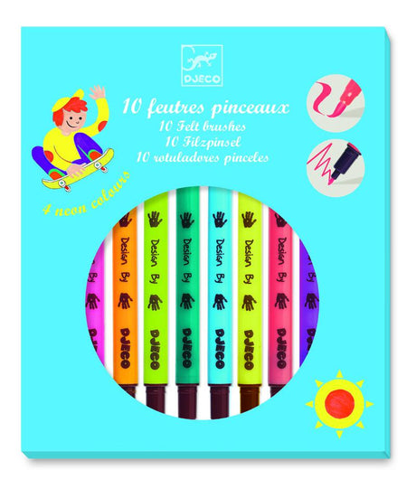 Djeco 10 brush felt tip pens - pop colours