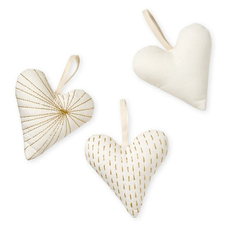 Cam Cam Christmas Decorative Hearts - Set of 3 - Creme White