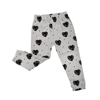 ORGANIC COTTONS GREY MONSTERRA PRINT LEGGINGS
