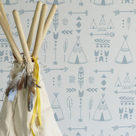 Teepees Wallpaper - Storm Green/ Grey