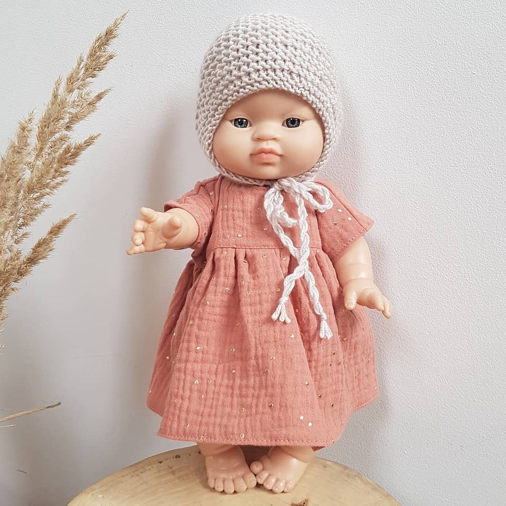Apricot and gold dot muslin dress- (to fit Paola Reina 34cm dolls)