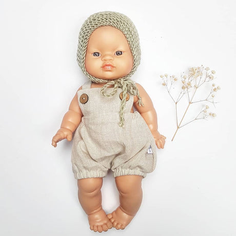 Paola Reina doll (34cm) natural linen romper