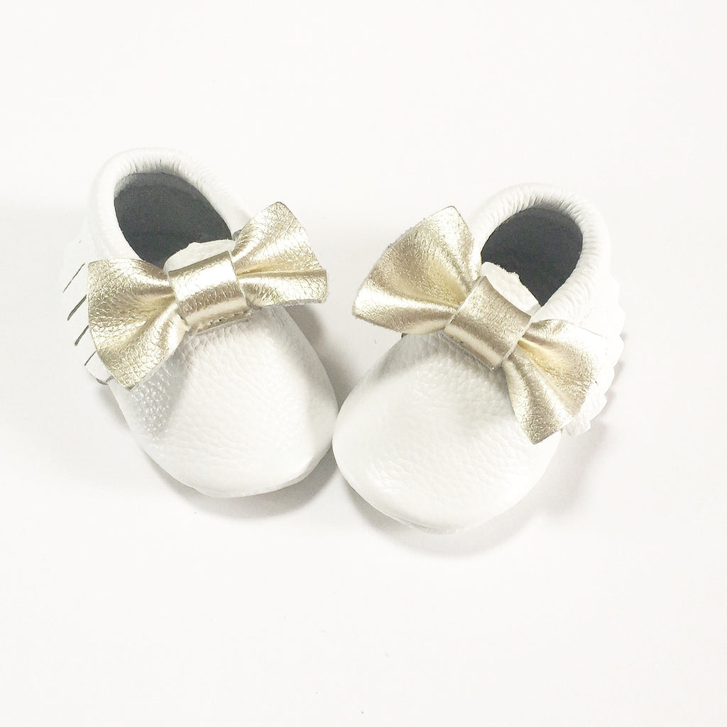 White Gold Bow Moccasins - Premium Leather
