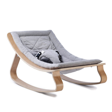 Charlie Crane Levo Baby Rocker in Beech & Sweet Grey Cushion