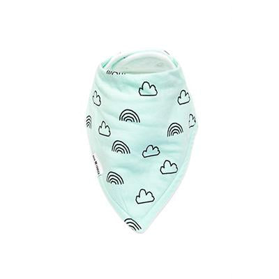 Mint Clouds + Rainbows Bandana Bib – 100% Organic