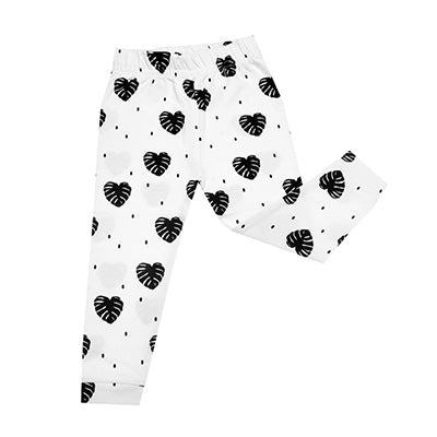 ORGANIC COTTONS MONOCHROME MONSTERRA PRINT LEGGINGS