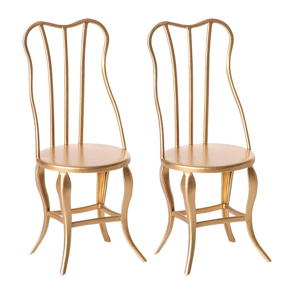 Maileg Vintage Chair Micro - Gold (Set of 2)