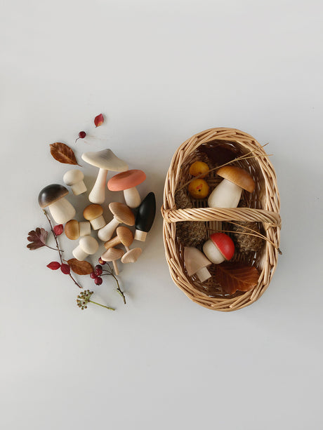 Wooden Forest Mushrooms and Basket