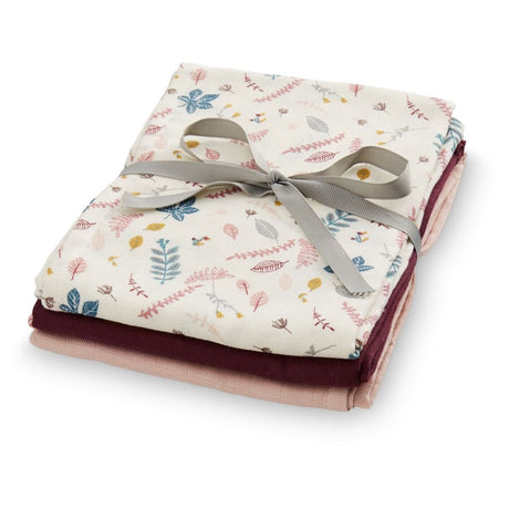 Muslin Cloth, Mix 3 pack - Mix Pressed Leaves Rose, Bordeaux & Blossom Pink