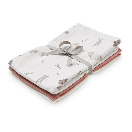 Muslin Cloth, Mix 3 pack - Mix Fawn, Berry & Creme White