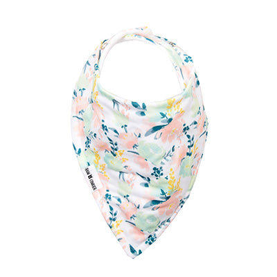 Peach Floral Watercolour Bandana Bib – 'Premium'