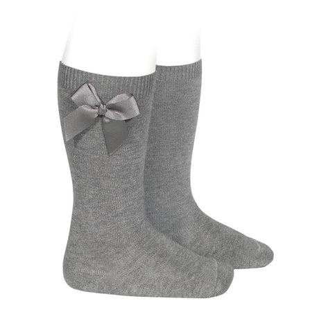 Knee-High Socks with Side Bow - LIGHT GREY