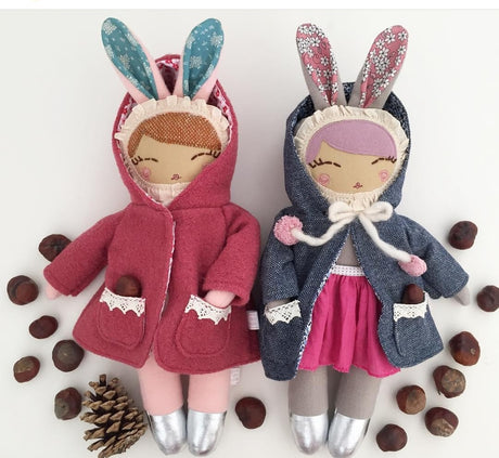 Bella Bunny Girl Coat (Grey Bunny with Pink Coat)