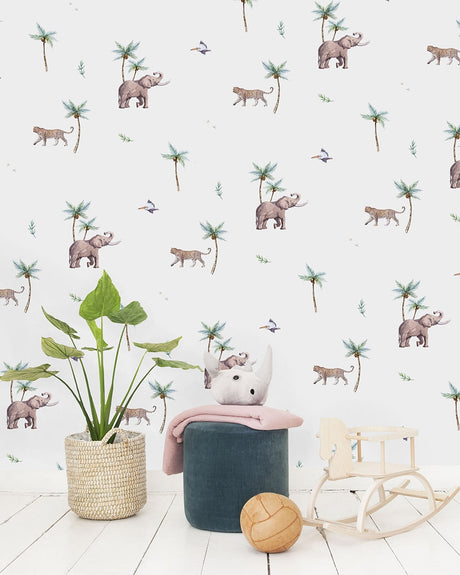 Tiger Elephant Pelican Wallpaper - Custom Order