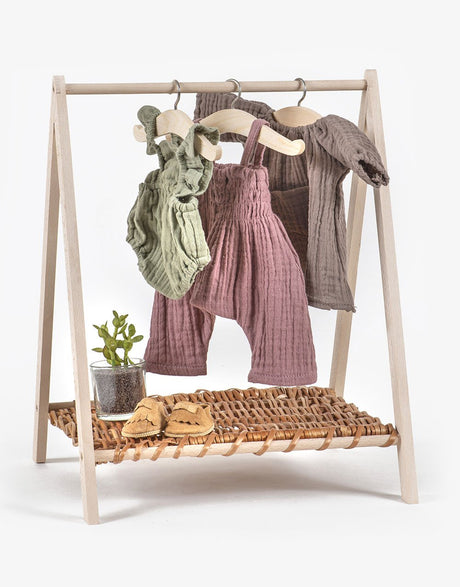 Wooden & Wicker Clothes Rack - Dolls Clothing (Perfect for Paola Reina outfits)