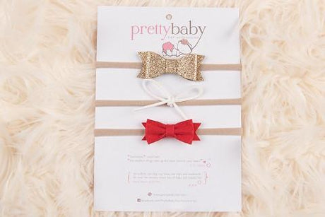 Christmas Baby Bows Headband - set 3 pk