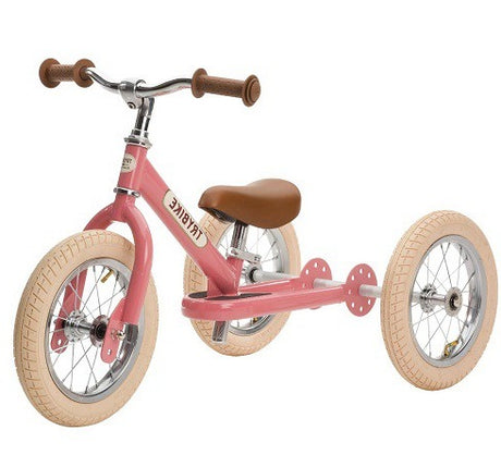 Trybike Steel- 2 in 1 Balance Bike Vintage Pink