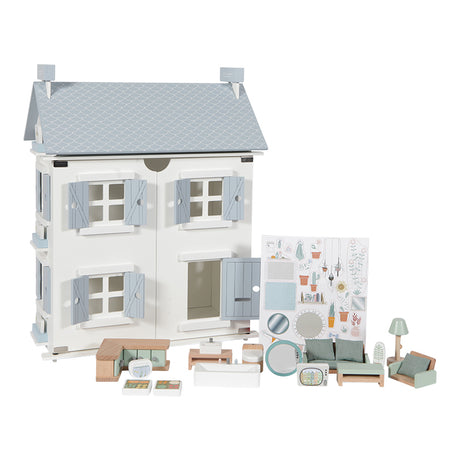 Wooden Doll House - Blue - 20 Pieces
