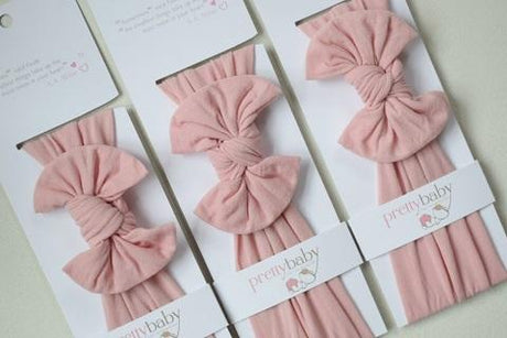 Top Knot Bow Headband - Dusky Pink