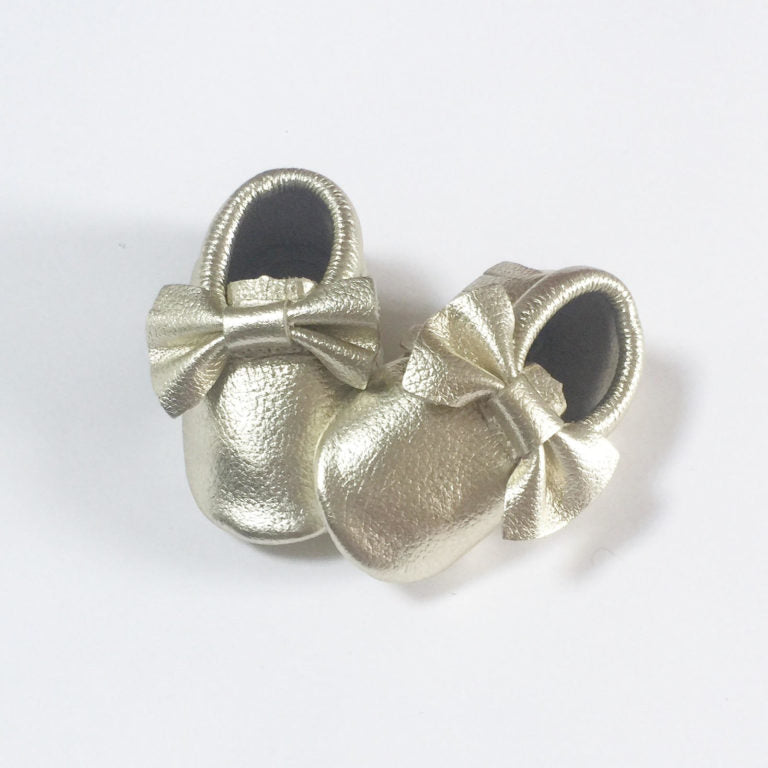 Gold Bow Moccasins - Premium Leather