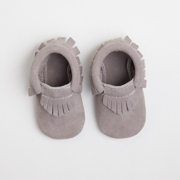 Grey Suede Moccasins - Premium Leather