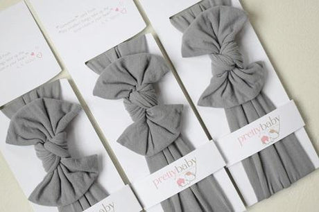 Top Knot Bow Headband - Grey