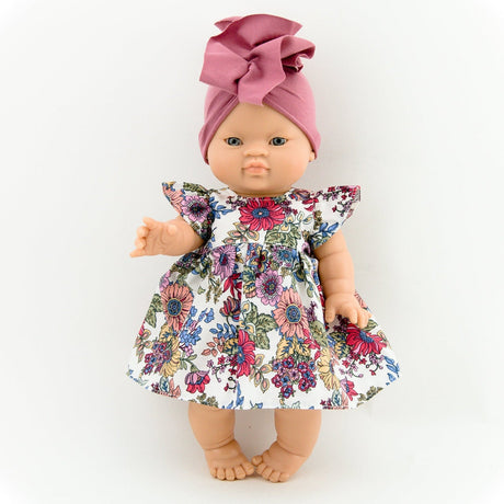 Floral dress and turban (to fit Paola Reina and miniland 34cm dolls)