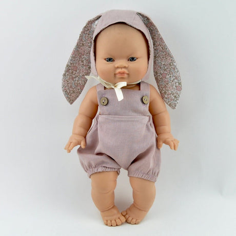 Dusty pink linen romper and bonnet set (to fit Paola Reina and miniland dolls 34cm)