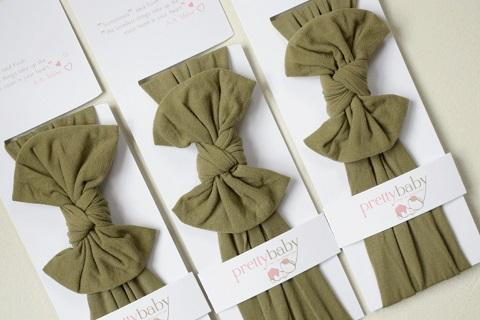 Top Knot Bow Headband - Khaki