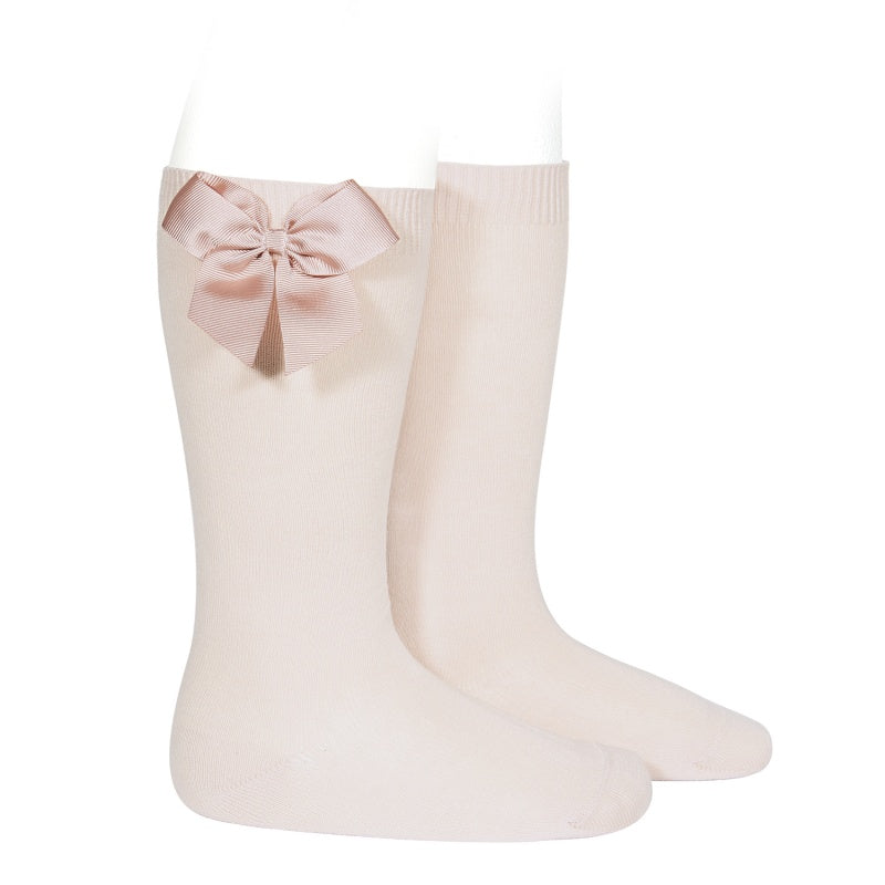 Knee-High Socks with Side Bow - Nude