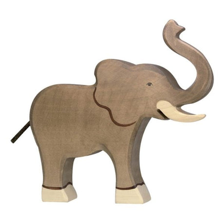 Wooden Elephant - Trumpeting (Large)