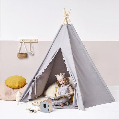 Little Green Sheep Teepee - Grey with scallop edge