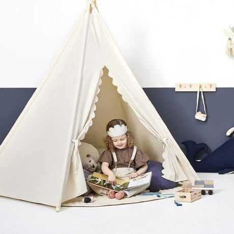 Little Green Sheep Teepee - Linen with scallop edge