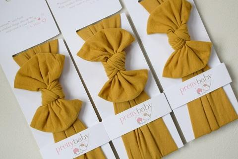 Top Knot Bow Headband - Mustard