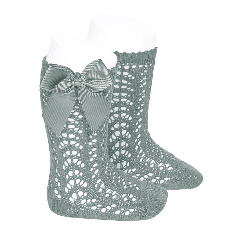 Cotton openwork Knee-High Socks with Bow DRY GREEN (SAGE)