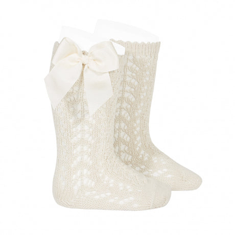 Cotton openwork Knee-High Socks with Bow LINEN