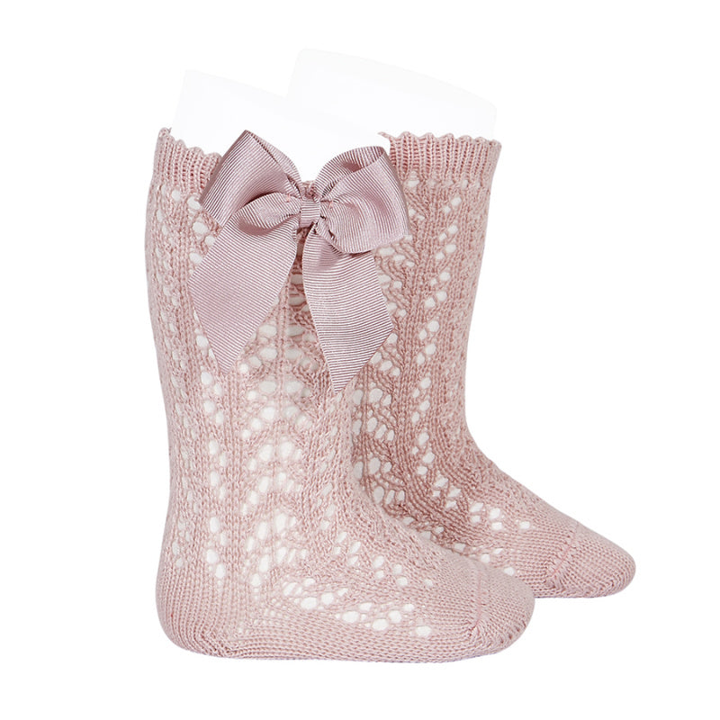 Cotton openwork Knee-High Socks with Bow POWDER PINK
