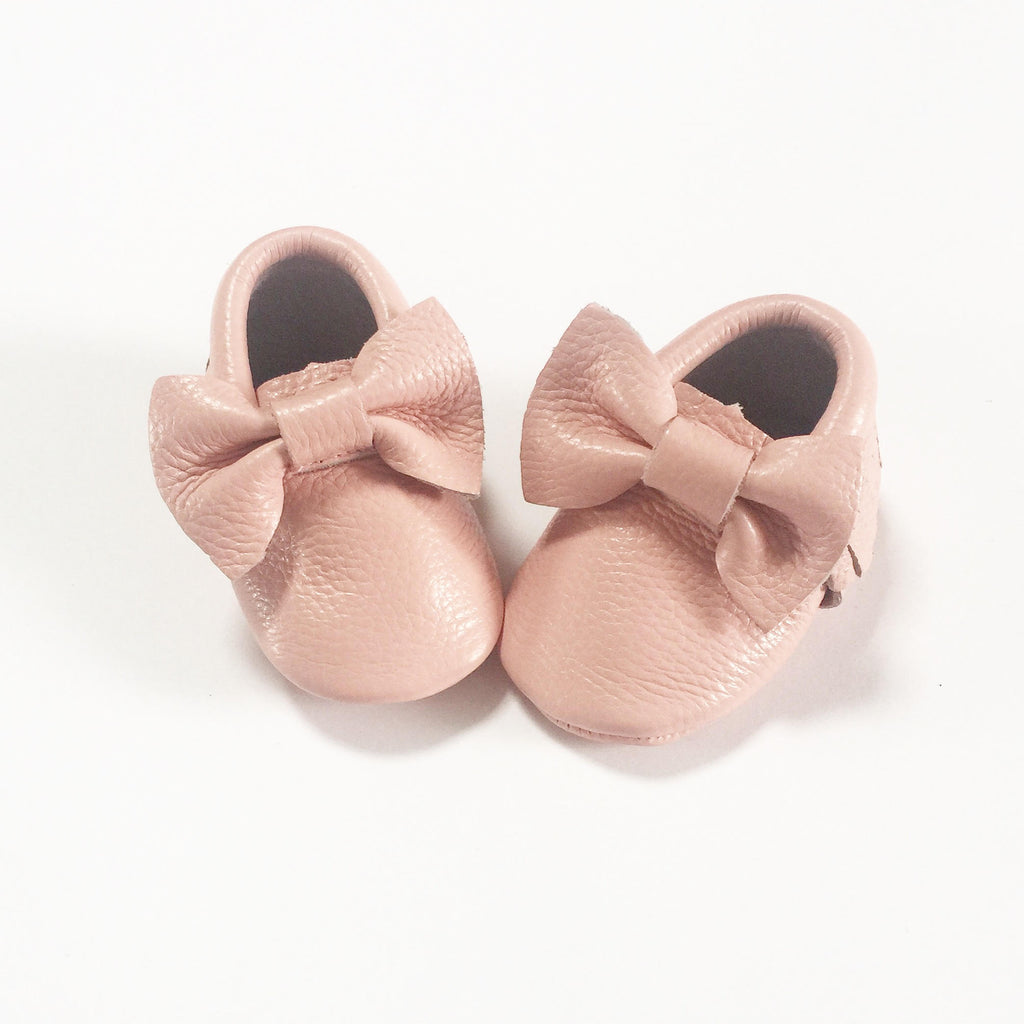 Baby Pink Bow Moccasins