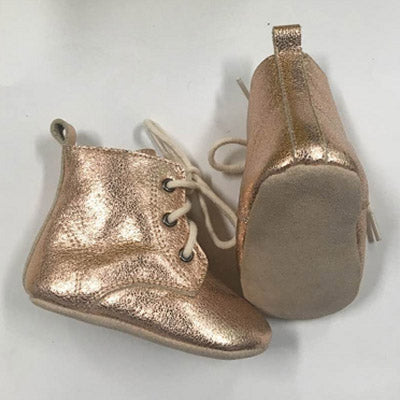 Rose Gold Leather Baby Boots