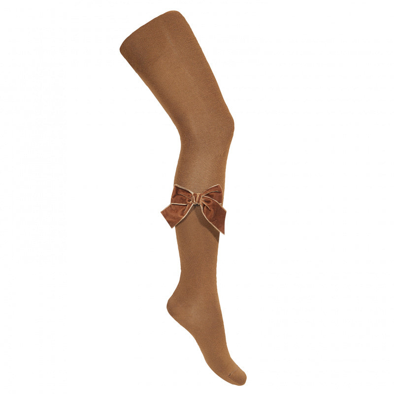 Side Velvet Bow Cotton Tights - Toffee
