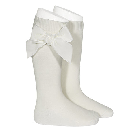 Side Velvet Bow Knee-High Socks - Cream
