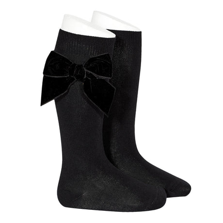 Side Velvet Bow Knee-High Socks - Black