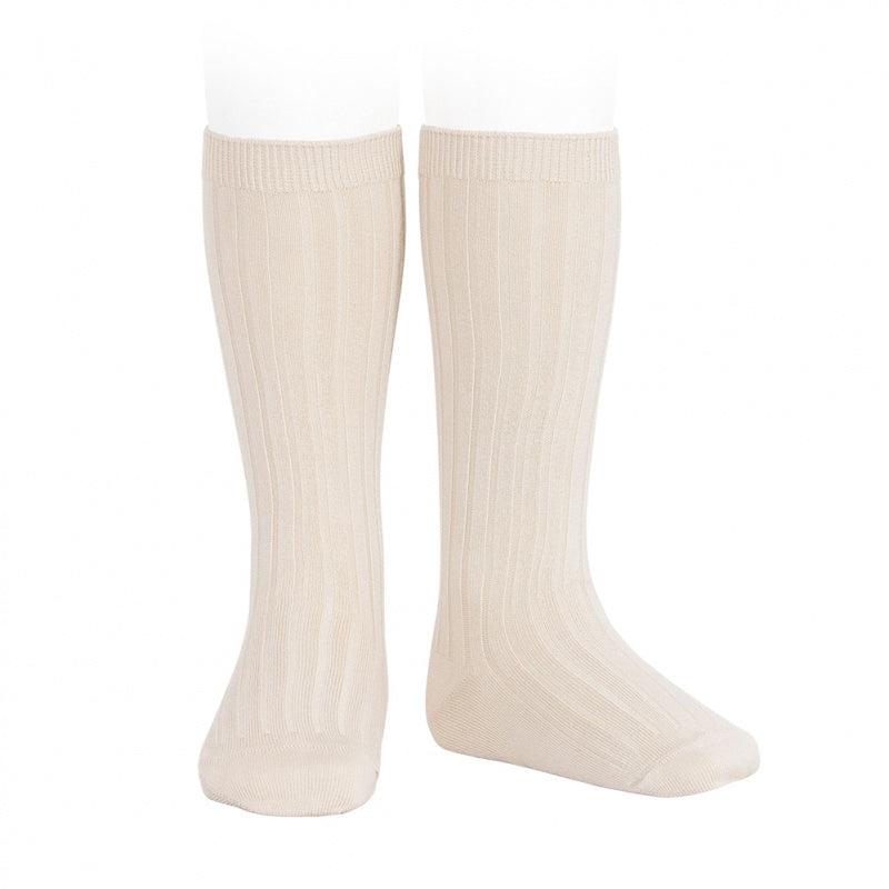Wide Ribbed Cotton Knee-High Socks LINEN
