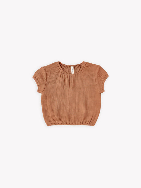 Cinched Woven Tee - Rust