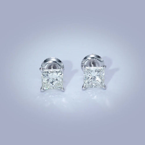 The Jamie Earrings - 2 Carat Princess Diamond Stud Earrings