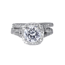 Load image into Gallery viewer, The Grace Bridal Set - 3 Carat Split Shank Halo Diamond Engagement Ring - 14K White Solid Gold #J99116