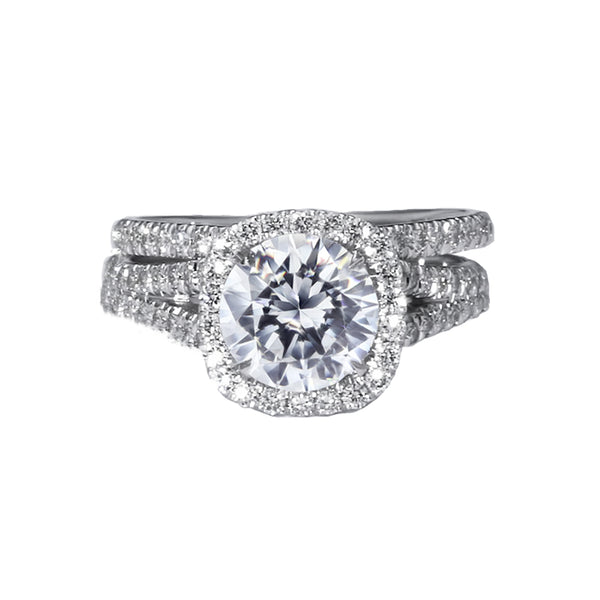 The Grace Bridal Set - 3 Carat Split Shank Halo Diamond Engagement Ring - 14K White Solid Gold #J99116