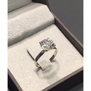 14K White Gold Solitaire Diamond Engagement Ring - Top Quality GIA Certified #J99136